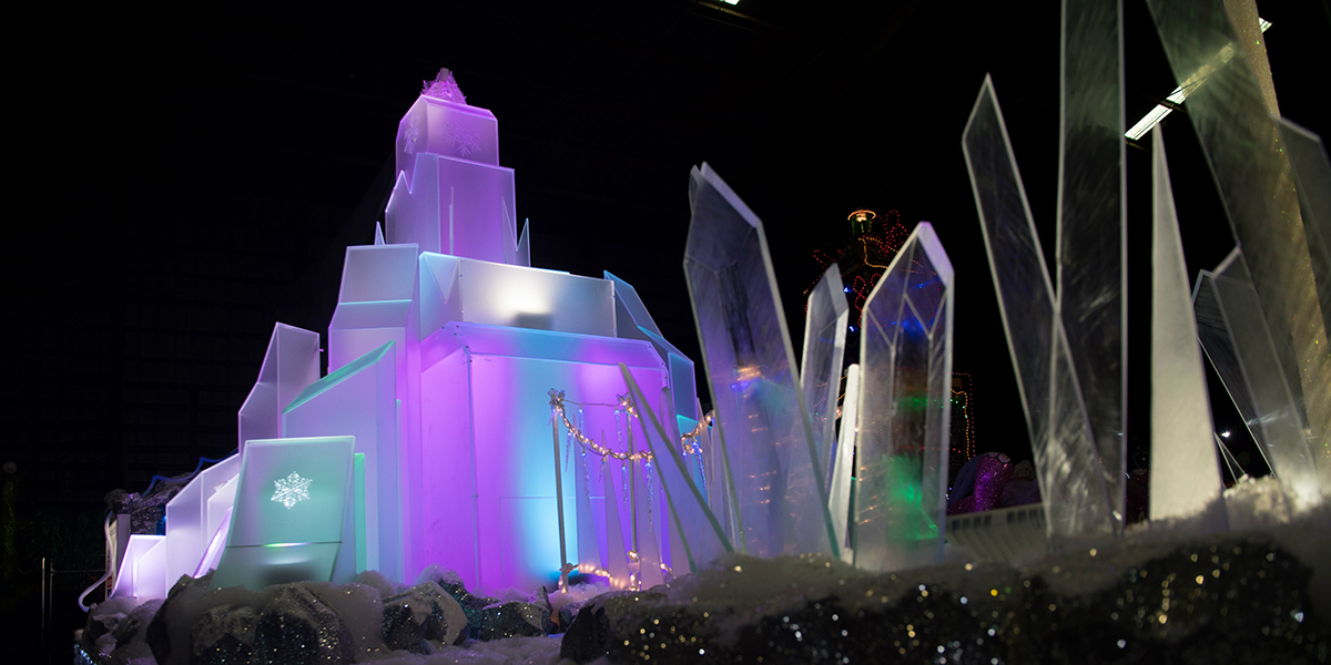 A view of the Sparkling Ice Castle parade float