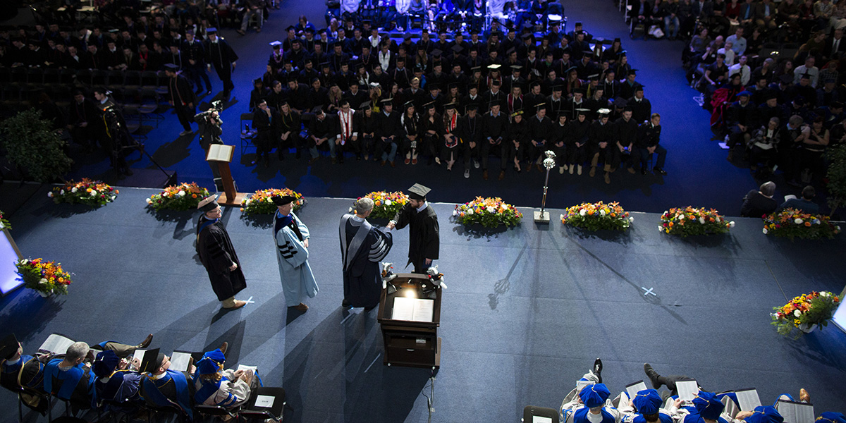 Overhead photo from Fall 2018 Undergraduate Commencement