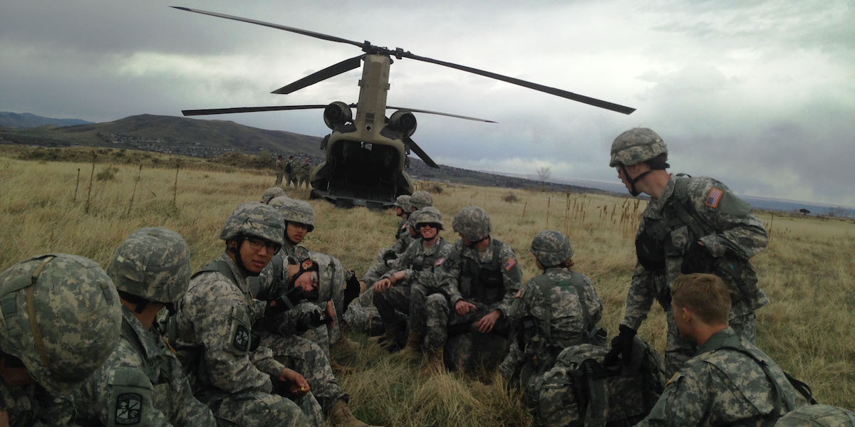 Buffalo Battlion cadets wait to board a Chinook Helicopter on top of South Table Mountain