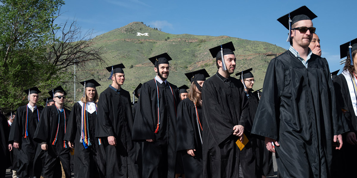 Undergraduates process into the Spring 2018 Commencement ceremony at Colorado School of Mines