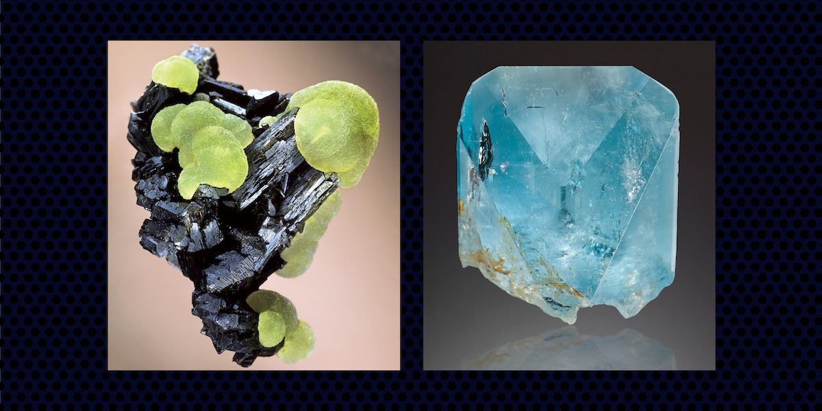 Prehnite on epidote (photo credit: Harold and Erica Van Pelt) and blue topaz from Brazil