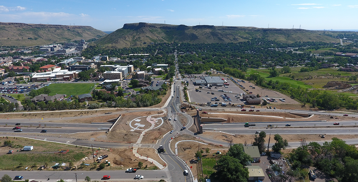 Aerial photo of the new interchange at U.S. 6 and 19th Street