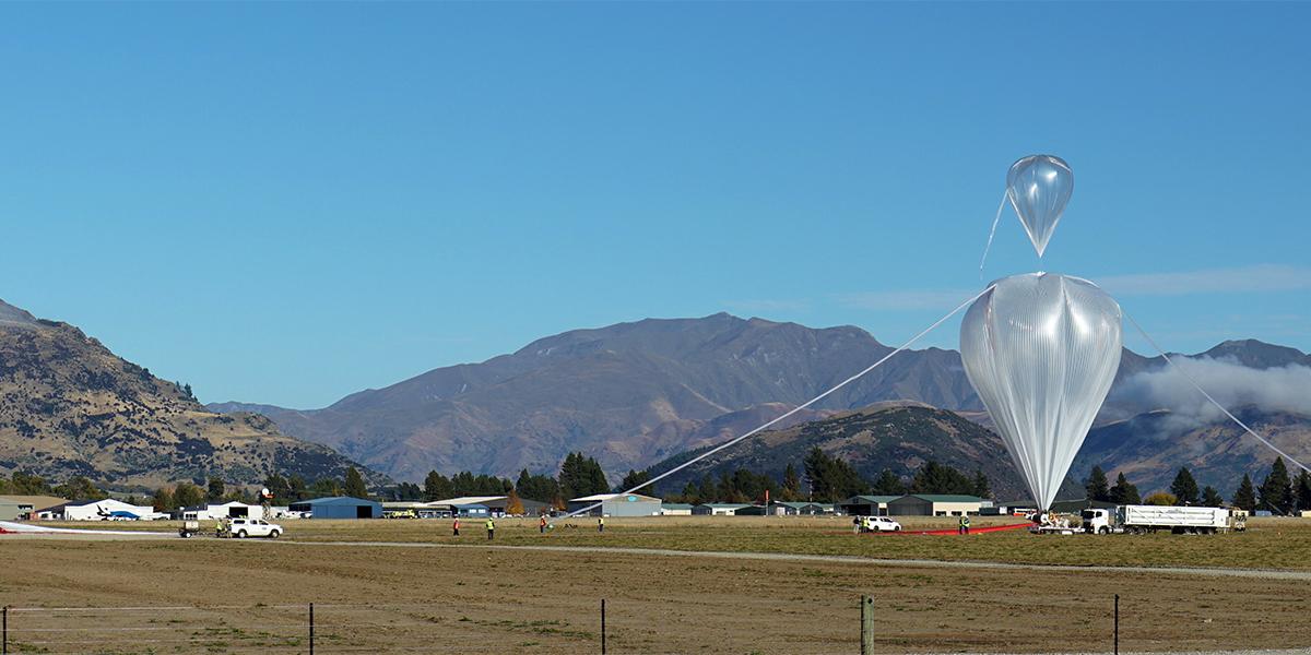 Super pressure balloon inflated for flight. Photo by Bill Rodman, NASA.