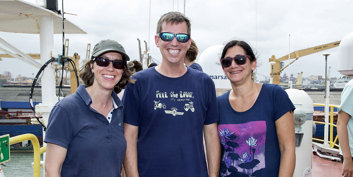 Expedition leaders from left: Lisa McNeill, Brandon Dugan, Katerina Petronotis. (Photo credit: Tim Fulton, IODP JRSO.)