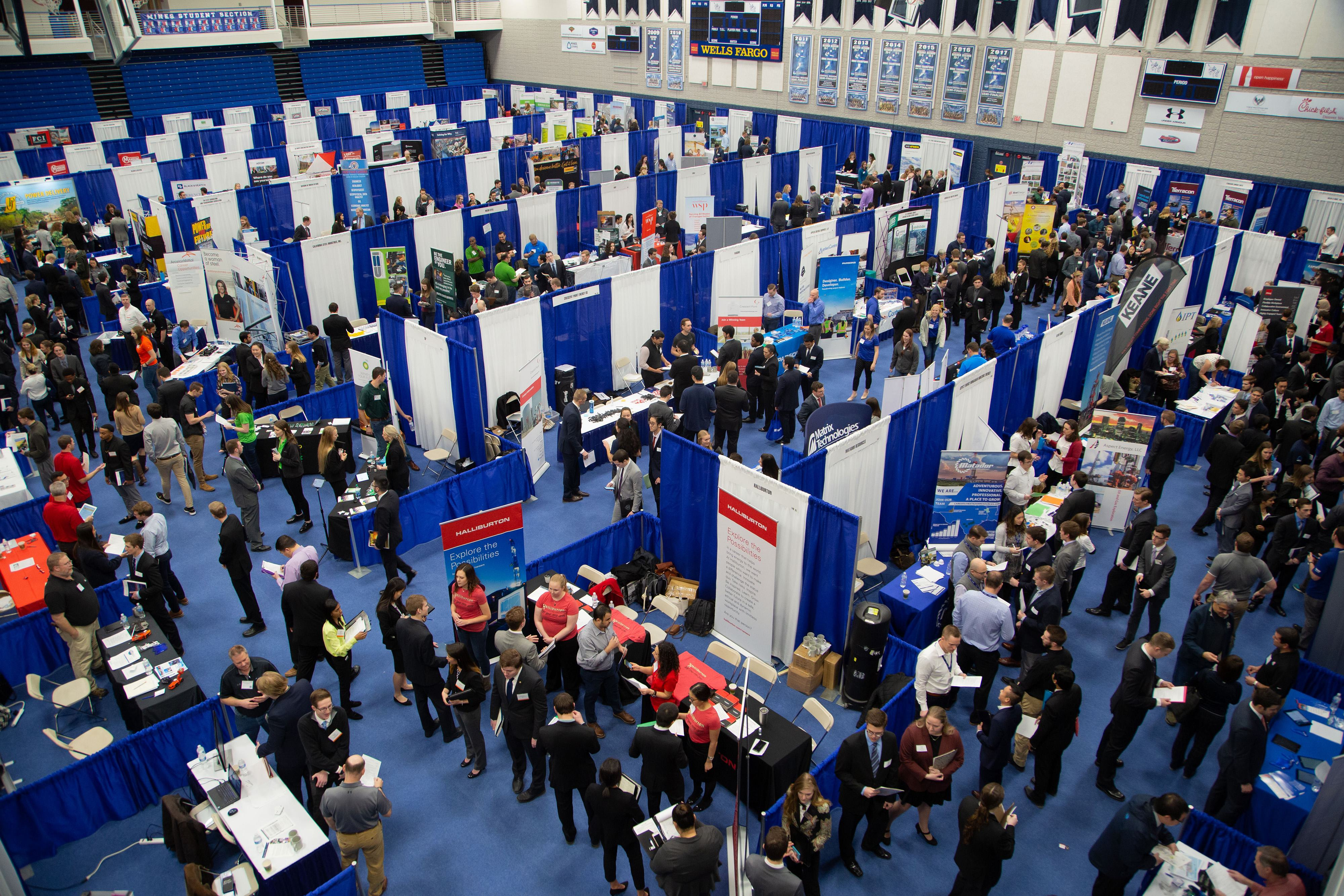 Overhead view of Spring 2019 Career Day
