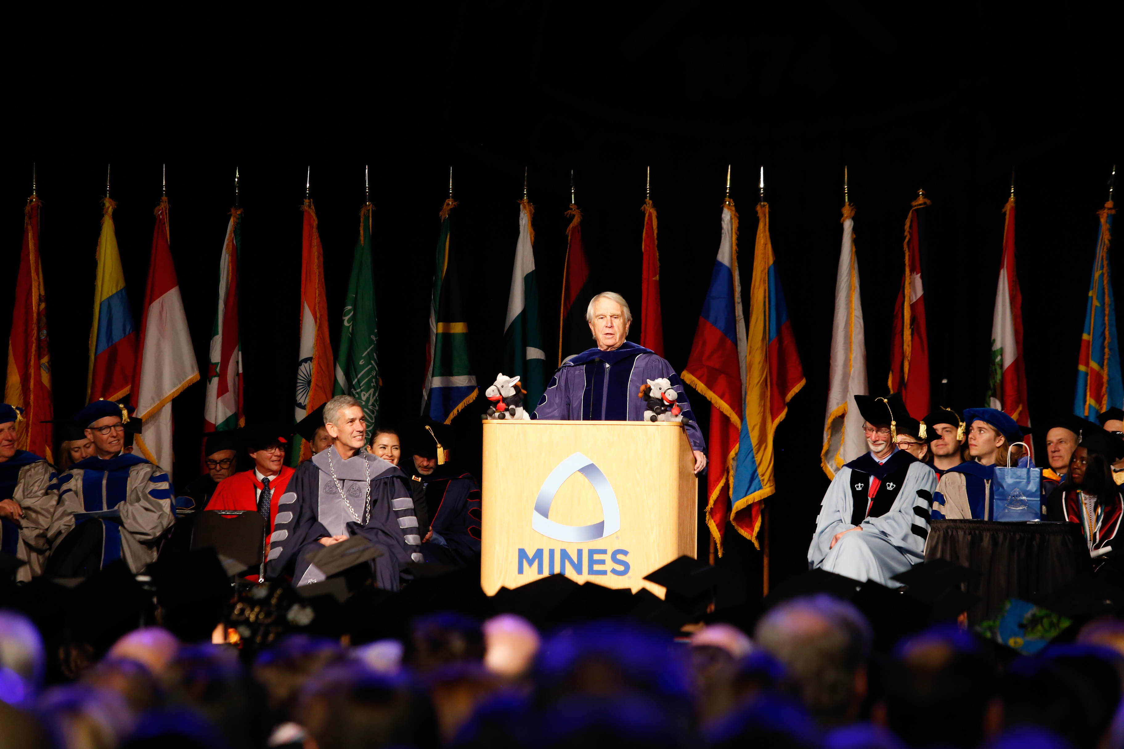Undergraduate keynote speaker Jim Payne '59 addresses the crowd