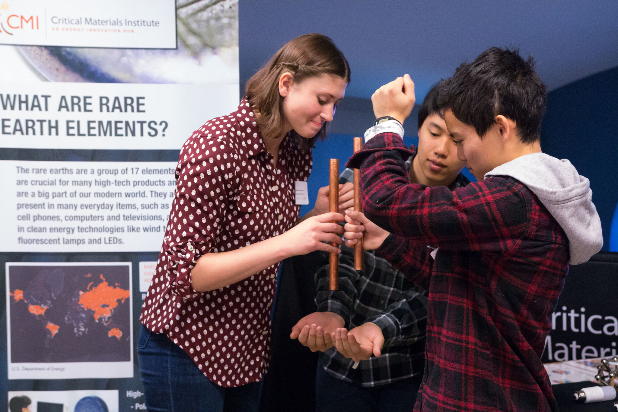 High school students participate in an interactive exercise at the Critical Materials Institute