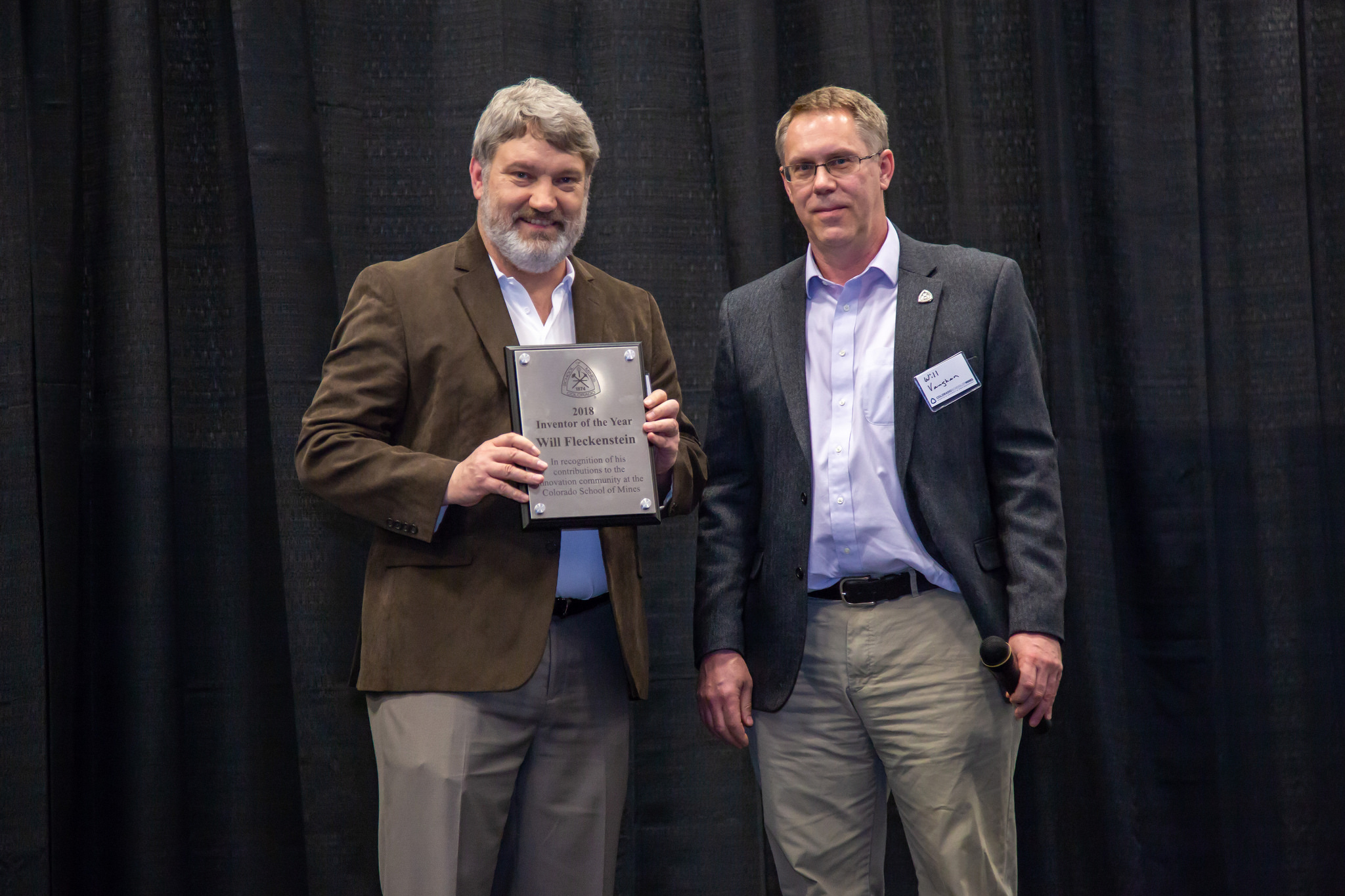 Wiliam Fleckenstein with his 2018 Mines Inventor of the Year award