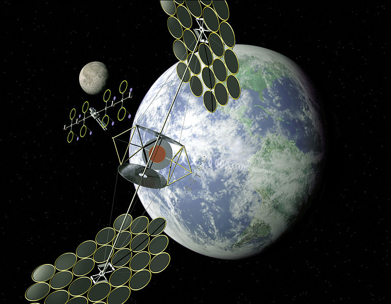 A NASA rendering of what space-based solar power could look like