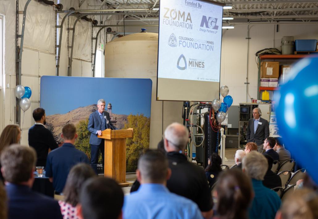 President Paul C. Johnson speaks at the WEST Water Hub grand opening