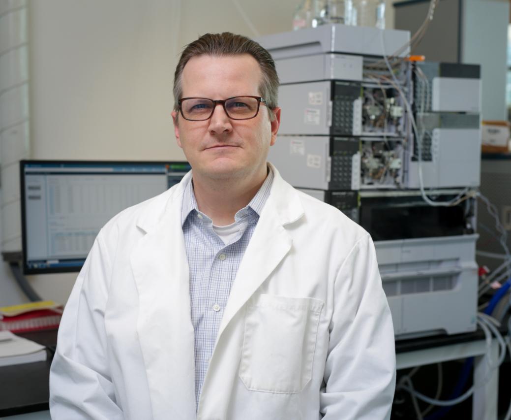 Chris Higgins in the lab