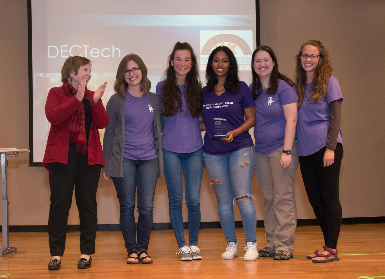 DECTech student leaders with Golden Major Marjorie Sloan