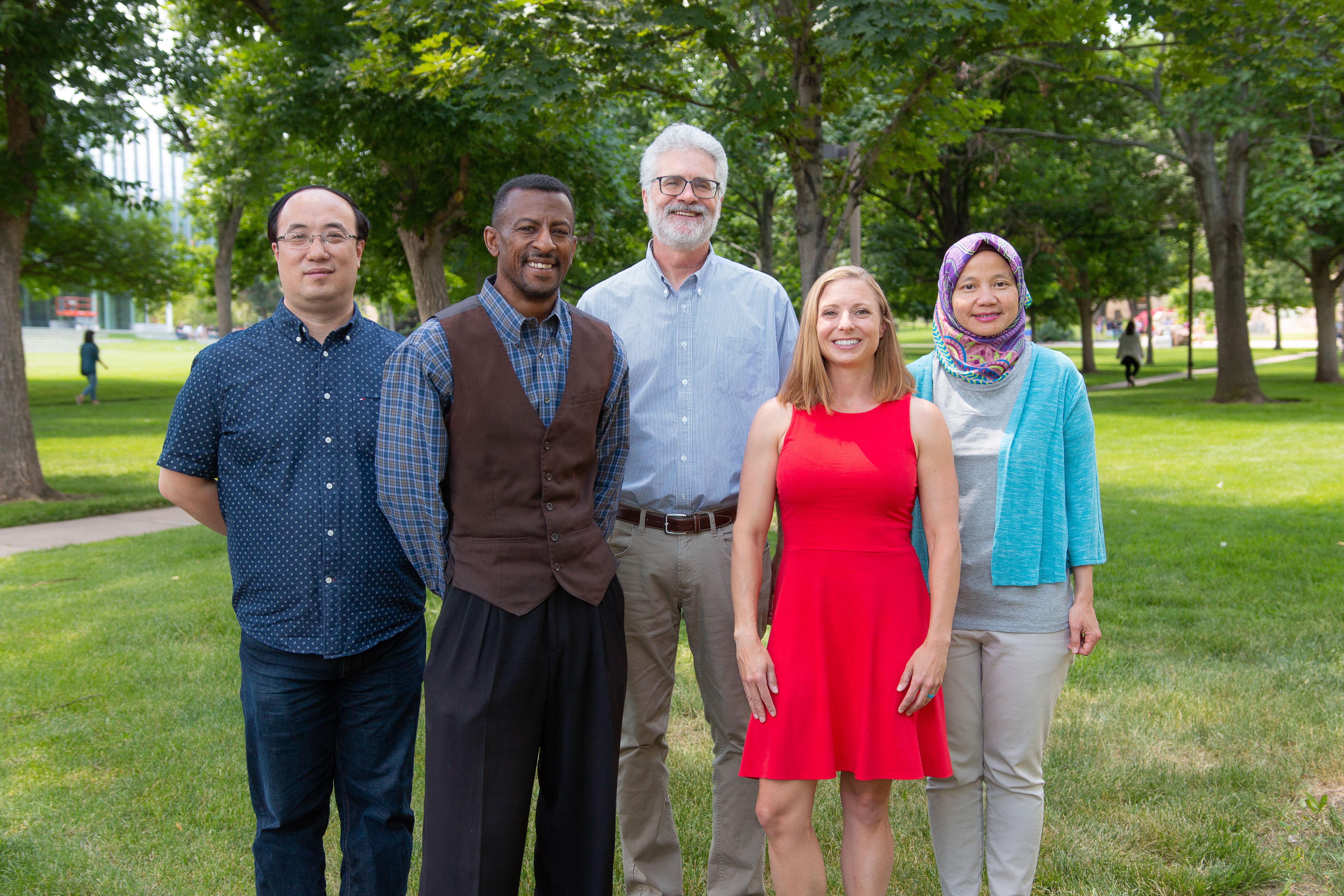 Daniels Fund Faculty Fellows Hua Wang, Derrick Hudson, Scott Houser, Olivia Burgess and Mirna Mattjik