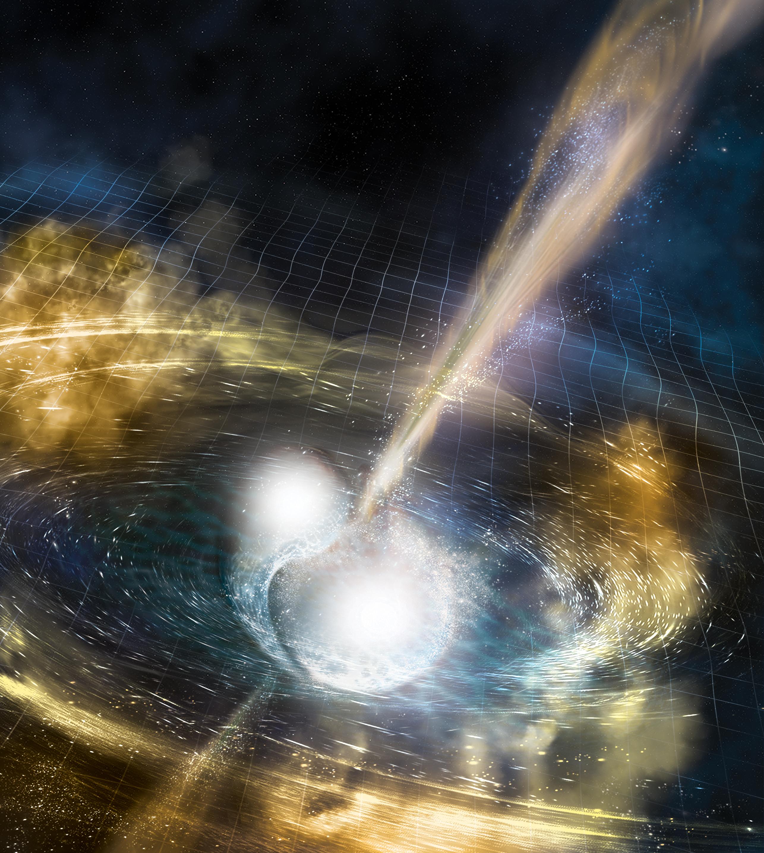 Artist's rendering of two merging neutron stars