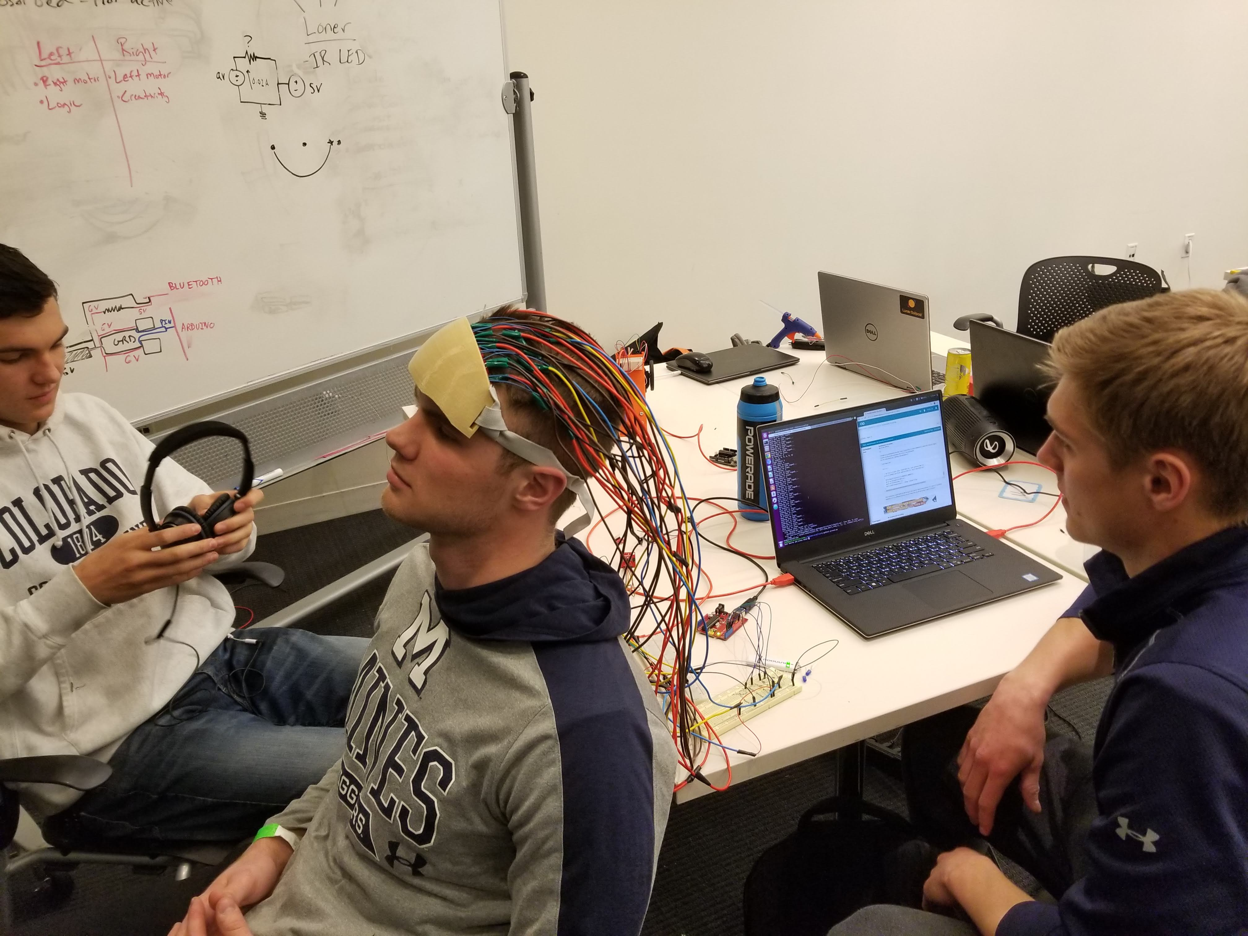 BrainAble team members work on the headset that detects brain activity.