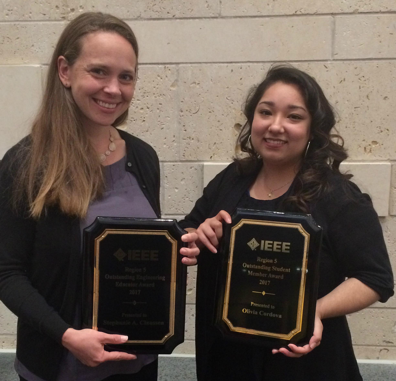 Associate Teaching Professor Stephanie Claussen and student Olivia Cordova