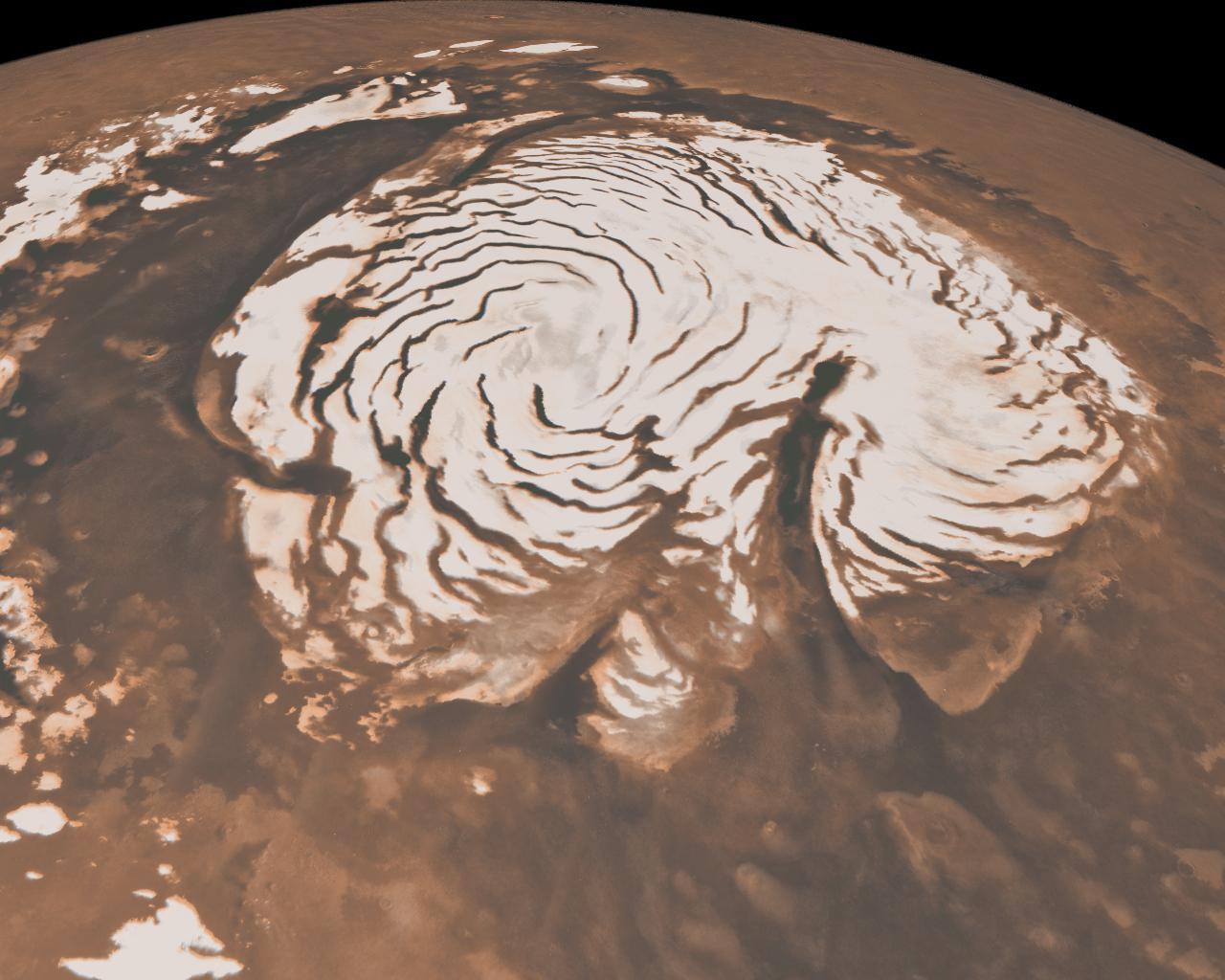 NASA image of Mars' northern ice cap