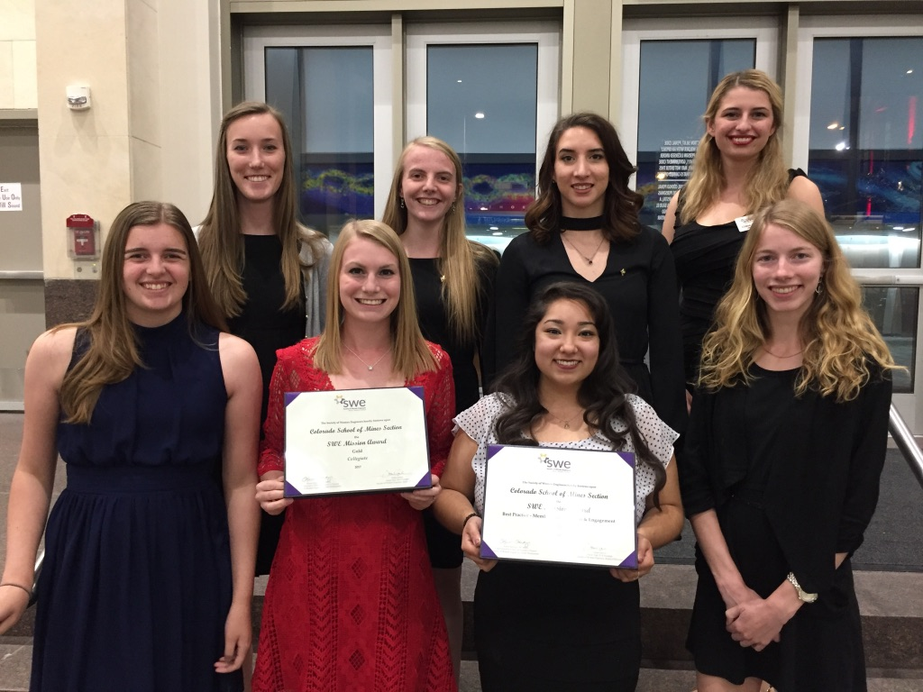 Mines students pose with their awards at the Society of Women Engineers' annual conference