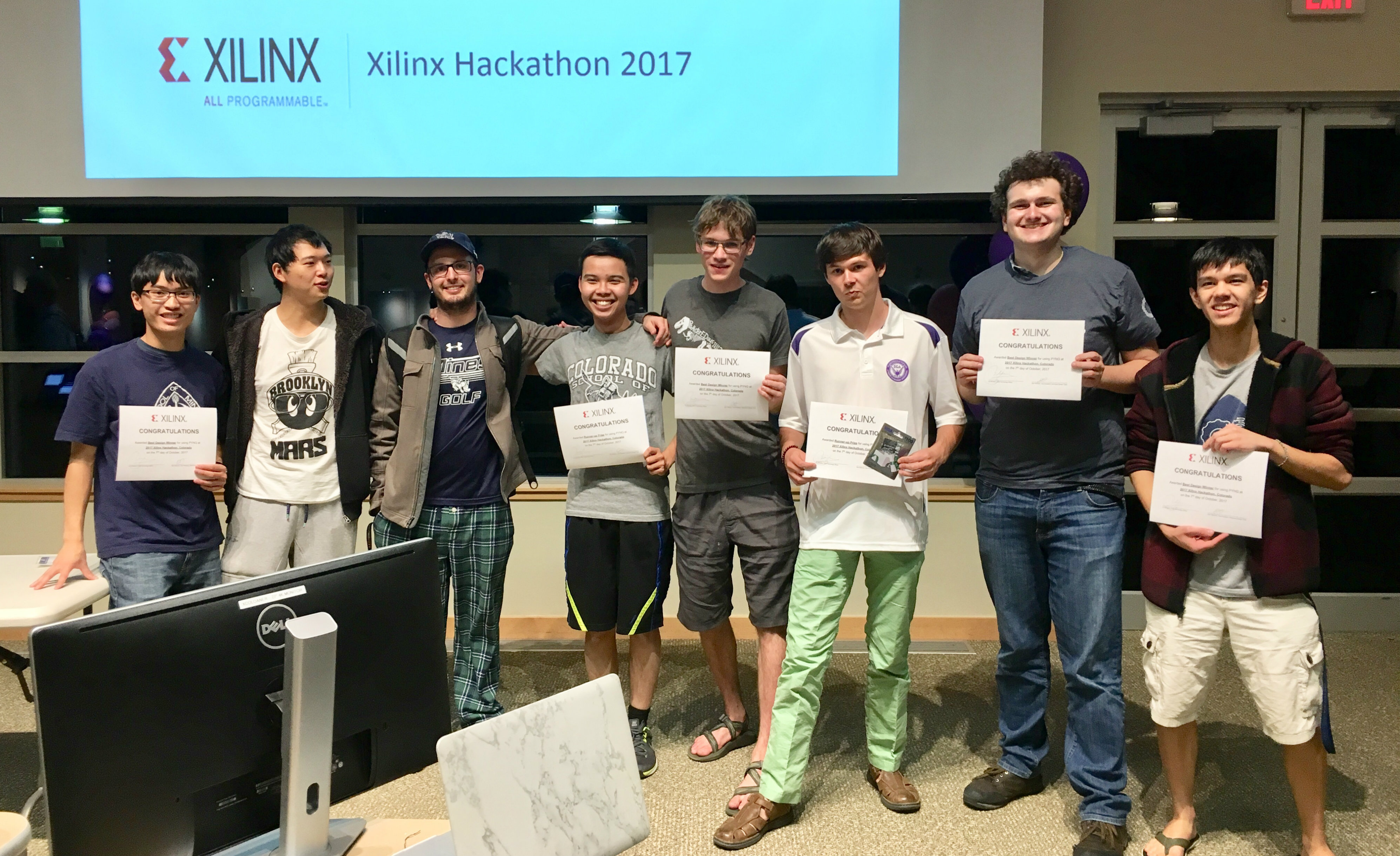 Colorado School of Mines students after winning the Xilinx Hackathon
