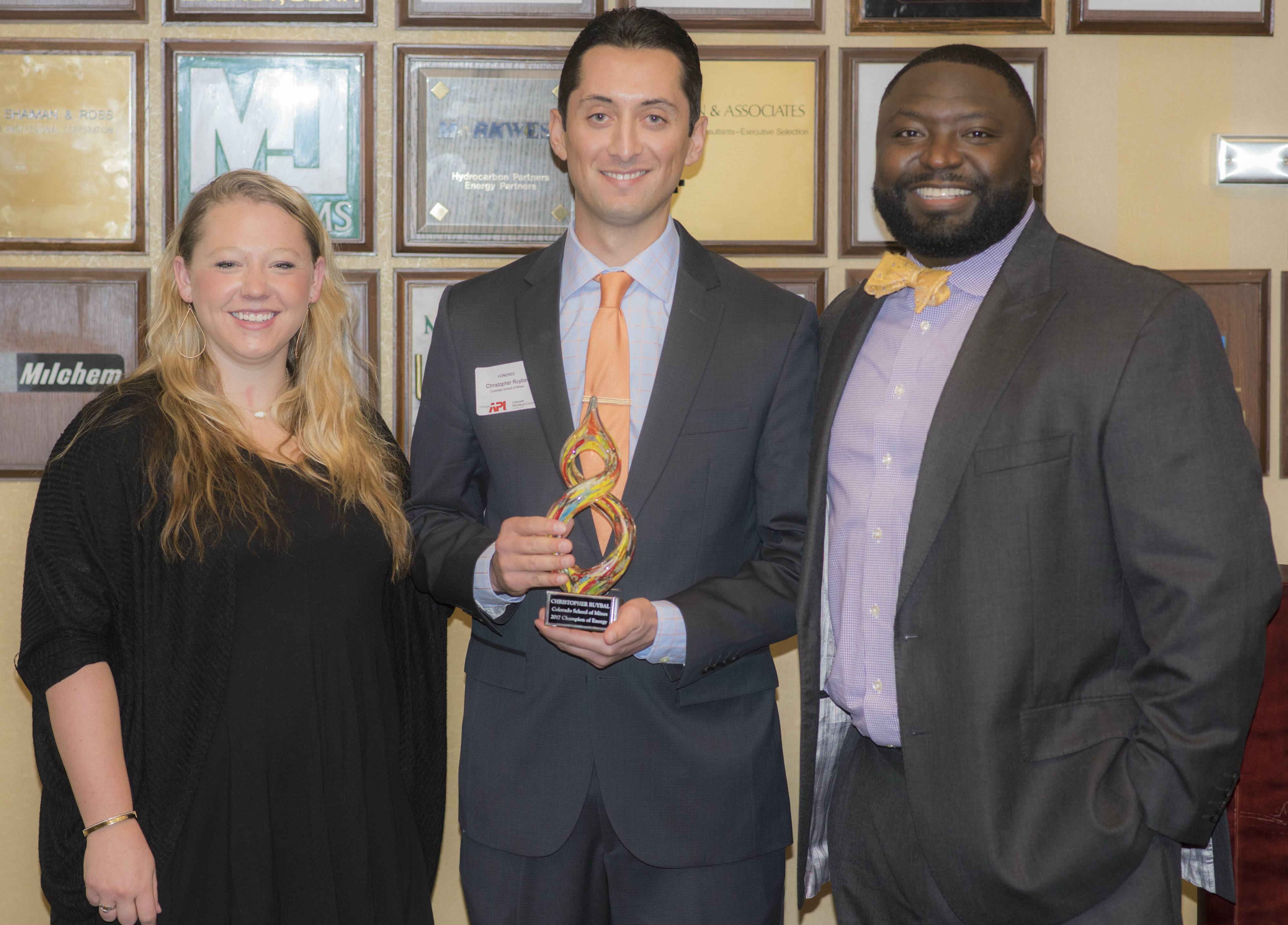 Mines graduate student Christopher Ruybal, center, at the 2017 Champions of Energy reception
