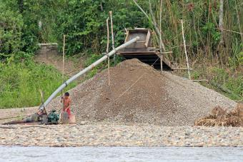 Illegal gold mining along the Madre de Dios River is often a dangerous practice that can have significant environmental and health risks. Photo by Ryan M. Bolton/Shutterstock.com
