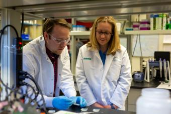 Postdoctoral researcher Matthew Osmond in the lab with Associate Professor Melissa Krebs