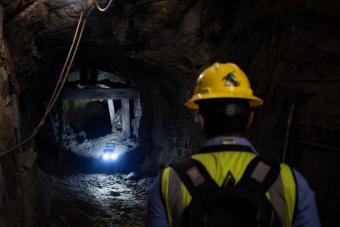 Mines student tests an autonomous robot in Edgar Mine