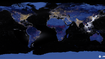 World map of nocturnal radiant emissions