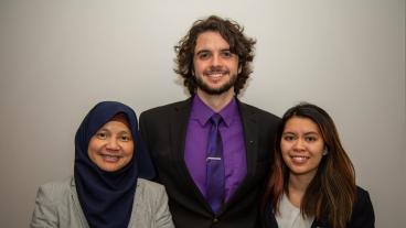 Connor Smith, center, and Sarena Nguyen, right, with advisor Mirna Mattjik