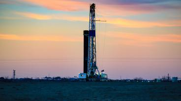 Stock image of shale gas rig