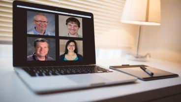 Photo illustration of four teachers on Zoom