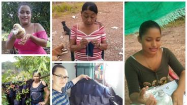 Women miners in Colombia work on various projects