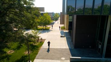 Aerial shot of people walking on Mines campus