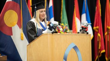 Gracie Cole gives student address during Fall 2020 commencement