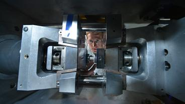 Graduate student Blake Whitley prepares a Gelable thermomechanical rolling simulation in Mines' Advanced Steel Processing and Products Research Center.