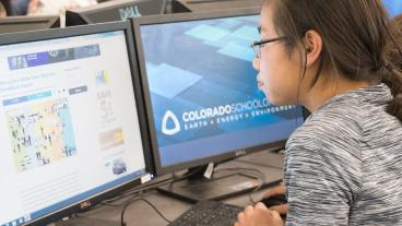 Young student works on a computer at Colorado School of Mines