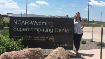 Alyssa Boll, an electrical engineering student at Colorado School of Mines, is studying the total solar eclipse with NCAR.