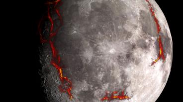 The full Moon as seen from the Earth, with the Procellarum border structures superimposed in red. (Photo Credit: Kopernik Observatory/NASA/Colorado School of Mines/MIT/JPL/Goddard Space Flight Center)