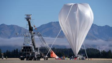 The Extreme Universe Space Observatory on a Super Pressure Balloon as it prepares to launch in New Zealand earlier this year