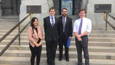 Vanessa Linero, Jarrod Gogolski, Ryan Collette and Ian Wilkinson visit the state Capitol to speak with legislators.