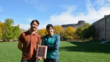 Graduate students Travis Brown (Hydrology) and Kamran Bakhsh (Mining Engineering) received first place as the winning team in the 2014 Geothermal Case Study Challenge.