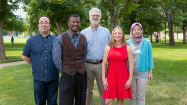 Daniels Fund Faculty Fellows Hua Wang, Derrick Hudson, Scott Houser, Olivia Burgess and Mirna Mattjik