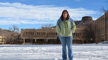 Geology and geological engineering graduate student Elena Finley on Kafadar Commons at Colorado School of Mines.