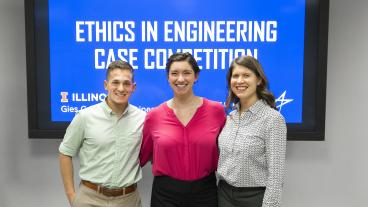 Mines students Parker Bolstad and Amara Hazlewood with McBride Program Director Sarah Hitt