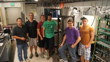 From left, Mark Wall (IEP), Mines students Andrew Steck Pituch, Gabriel Block, Gabriel Rios, researcher Mark Daubenspeck and exchange student Sebastian Dierickx (Karlsruhe Institute of Technology)