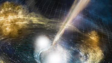 Artist's rendering of two merging neutron stars