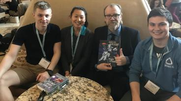 High Grade editors Kyle Markowski, Wenli Dickinson and Connor Weddle with George Saunders '81
