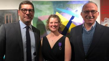 Megan Diercks, center, with French Consul General Christophe Lemoine and Hussein Amery, director of the Humanities, Arts, and Social Sciences Division at Mines