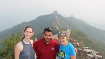Chemical and biochemical engineering students Mallory Britz and Corey Brugh with Teaching Associate Professor Stephanie Claussen at the Great Wall of China during the Global Grand Challenges Summit. (Photo Credit: Corey Brugh)