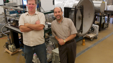 Mechanical Engineering Assistant Research Professor Christopher Dreyer and Director of the Center for Space Resources Angel Abbud-Madrid in the Center for Space Resources Laboratory.